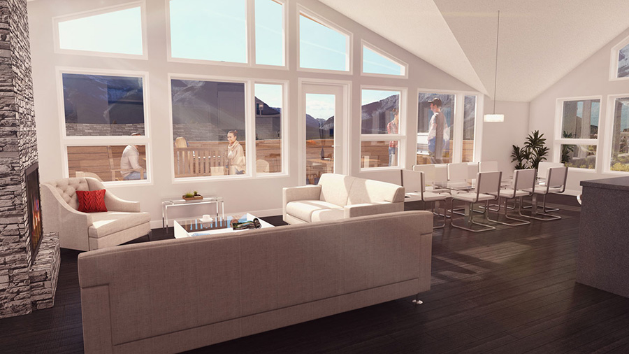 Interior Rendering of the latest Canmore apartments, the Seventh and Seventh