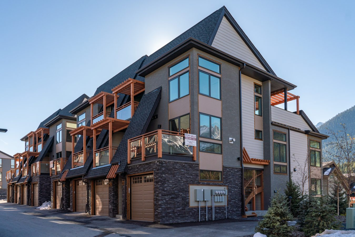 Side view of Canmore townhouses for sale