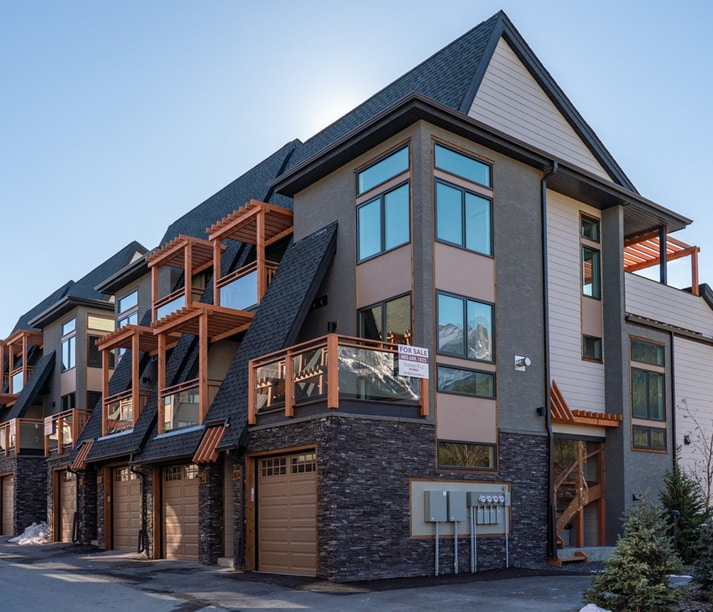 An exterior view of our luxurious Pine Canmore Townhome.
