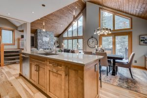 spacious panoramic view of our Newcastle mountain home by Stewart Creek in Canmore